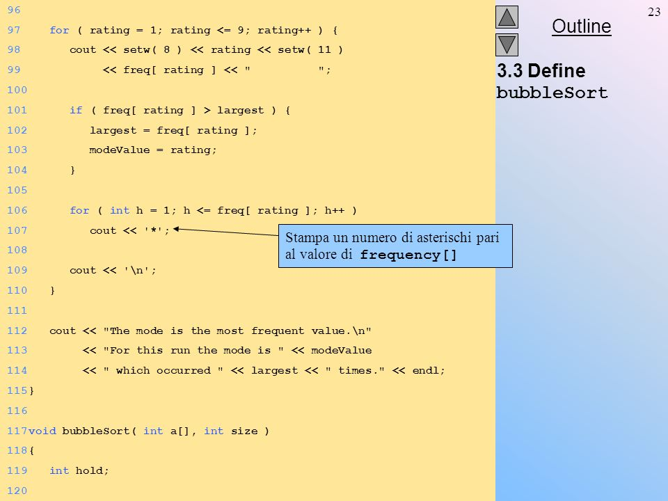 Outline 23 3.3 Define bubbleSort 96 97 for ( rating = 1; rating <= 9; rating++ ) { 98 cout << setw( 8 ) << rating << setw( 11 ) 99 << freq[ rating ] << ; 100 101 if ( freq[ rating ] > largest ) { 102 largest = freq[ rating ]; 103 modeValue = rating; 104 } 105 106 for ( int h = 1; h <= freq[ rating ]; h++ ) 107 cout << * ; 108 109 cout << \n ; 110 } 111 112 cout << The mode is the most frequent value.\n 113 << For this run the mode is << modeValue 114 << which occurred << largest << times. << endl; 115} 116 117void bubbleSort( int a[], int size ) 118{ 119 int hold; 120 Stampa un numero di asterischi pari al valore di frequency[]