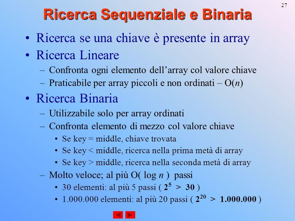 27 Ricerca Sequenziale e Binaria Ricerca se una chiave è presente in array Ricerca Lineare –Confronta ogni elemento dellarray col valore chiave –Praticabile per array piccoli e non ordinati – O(n) Ricerca Binaria –Utilizzabile solo per array ordinati –Confronta elemento di mezzo col valore chiave Se key = middle, chiave trovata Se key < middle, ricerca nella prima metà di array Se key > middle, ricerca nella seconda metà di array –Molto veloce; al più O( log n ) passi 30 elementi: al più 5 passi ( 2 5 > 30 ) 1.000.000 elementi: al più 20 passi ( 2 20 > 1.000.000 )