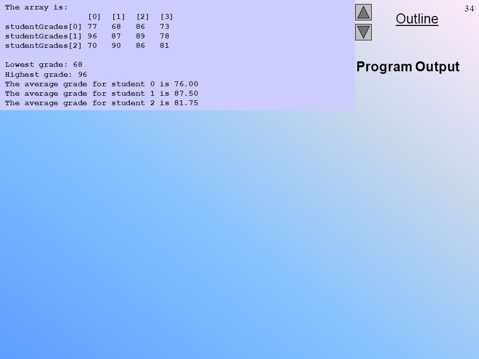 Outline 34 Program Output The array is: [0] [1] [2] [3] studentGrades[0] 77 68 86 73 studentGrades[1] 96 87 89 78 studentGrades[2] 70 90 86 81 Lowest grade: 68 Highest grade: 96 The average grade for student 0 is 76.00 The average grade for student 1 is 87.50 The average grade for student 2 is 81.75