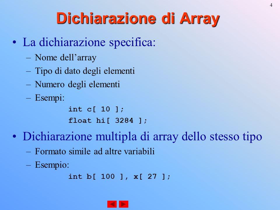 5 Esempi con Array Valori di inizializzazione (initializers) int n[ 5 ] = { 1, 2, 3, 4, 5 }; –Se non ci sono inizializzatori a sufficienza, elementi più a destra sono inizializzati a 0 –Se gli inizializzatori sono troppi, errore di sintassi int n[ 5 ] = { 0 }; –Inizializza tutti gli elementi a 0 Se la dimensione è omessa, è determinata in base ai valori di inizializzazione int n[] = { 1, 2, 3, 4, 5 }; –5 initializers, quindi n è un array a 5 elementi