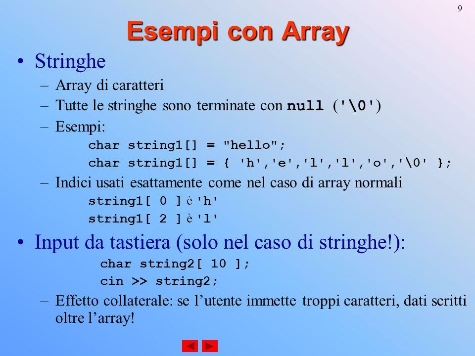 30 Accesso ad Array con più indici Array a due indici memorizzato per righe: const int m = 10; const int n = 30; int c[ m ][ n ]; Come viene realizzato laccesso.