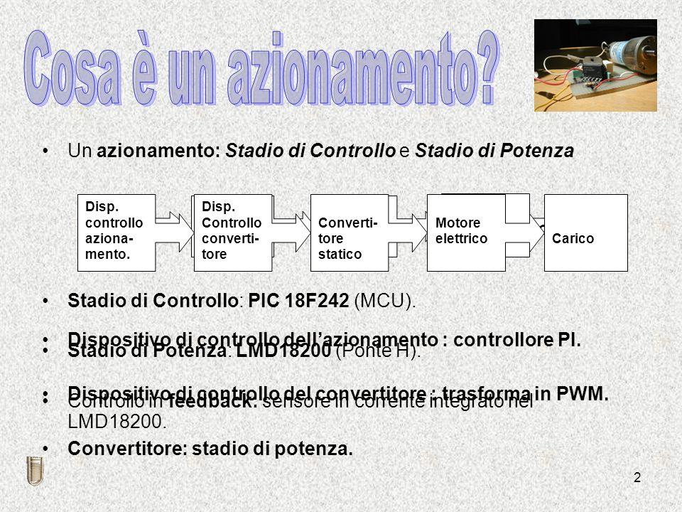 2 Un azionamento: Stadio di Controllo e Stadio di Potenza Stadio di Controllo: PIC 18F242 (MCU). Stadio di Potenza: LMD18200 (Ponte H). Controllo in f