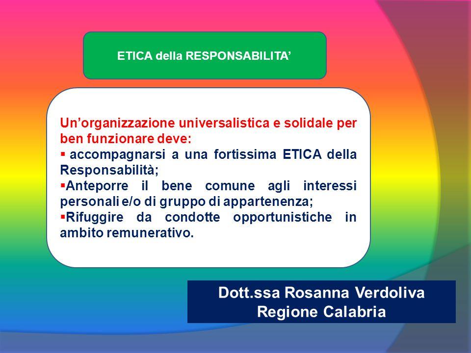 Unorganizzazione universalistica e solidale per ben funzionare deve: accompagnarsi a una fortissima ETICA della Responsabilità; Anteporre il bene comune agli interessi personali e/o di gruppo di appartenenza; Rifuggire da condotte opportunistiche in ambito remunerativo.