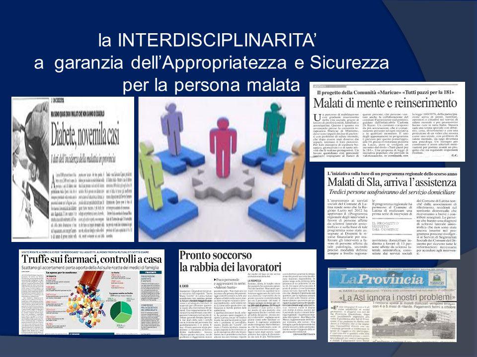 la INTERDISCIPLINARITA a garanzia dellAppropriatezza e Sicurezza per la persona malata