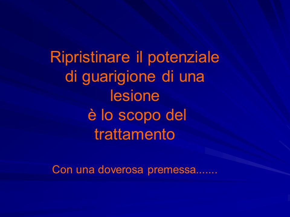 Ripristinare il potenziale di guarigione di una lesione è lo scopo del trattamento Con una doverosa premessa.......