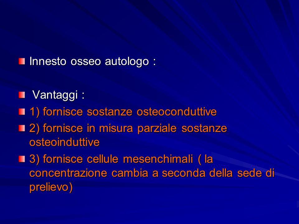 Innesto osseo autologo : Vantaggi : Vantaggi : 1) fornisce sostanze osteoconduttive 2) fornisce in misura parziale sostanze osteoinduttive 3) fornisce