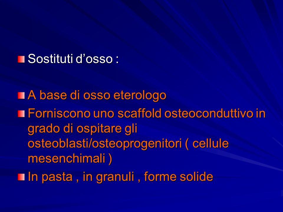Sostituti dosso : A base di osso eterologo Forniscono uno scaffold osteoconduttivo in grado di ospitare gli osteoblasti/osteoprogenitori ( cellule mes
