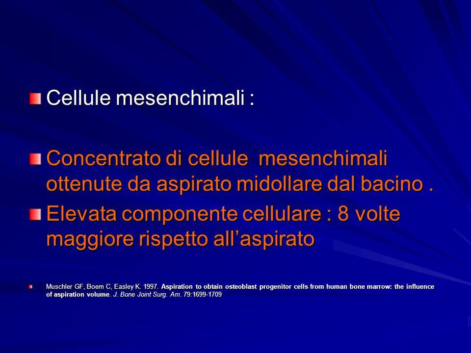 Cellule mesenchimali : Concentrato di cellule mesenchimali ottenute da aspirato midollare dal bacino. Elevata componente cellulare : 8 volte maggiore