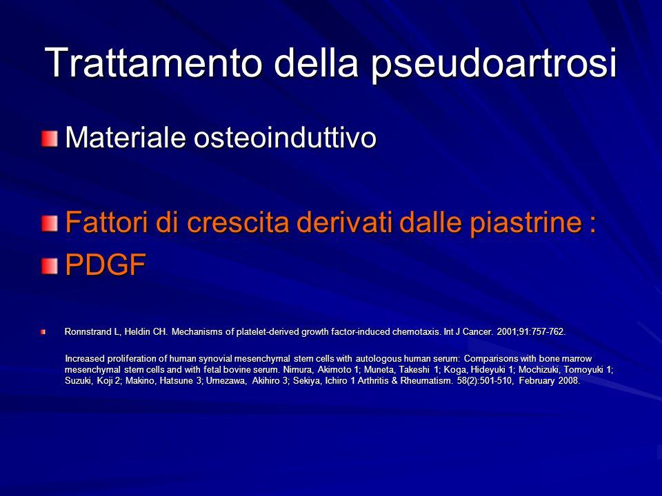 Trattamento della pseudoartrosi Materiale osteoinduttivo Fattori di crescita derivati dalle piastrine : PDGF Ronnstrand L, Heldin CH. Mechanisms of pl