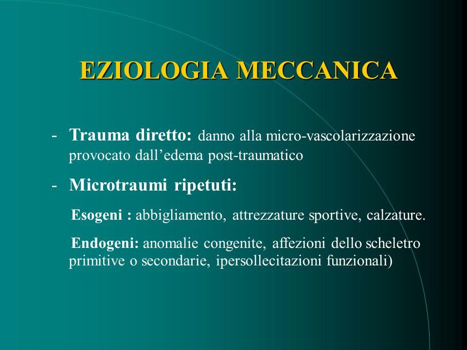EZIOLOGIA MECCANICA -Trauma diretto: danno alla micro-vascolarizzazione provocato dalledema post-traumatico -Microtraumi ripetuti: Esogeni : abbigliamento, attrezzature sportive, calzature.
