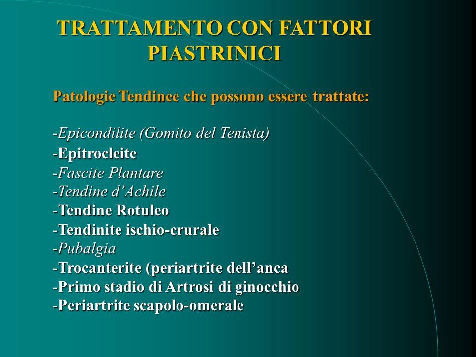 Patologie Tendinee che possono essere trattate: -Epicondilite (Gomito del Tenista) -Epitrocleite -Fascite Plantare -Tendine dAchile -Tendine Rotuleo -Tendinite ischio-crurale -Pubalgia -Trocanterite (periartrite dellanca -Primo stadio di Artrosi di ginocchio -Periartrite scapolo-omerale