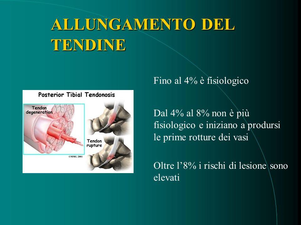 ALLUNGAMENTODEL TENDINE ALLUNGAMENTO DEL TENDINE Fino al 4% è fisiologico Dal 4% al 8% non è più fisiologico e iniziano a prodursi le prime rotture dei vasi Oltre l8% i rischi di lesione sono elevati