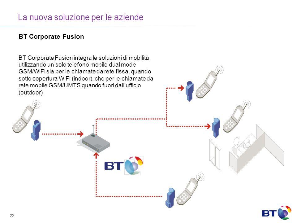 22 La nuova soluzione per le aziende BT Corporate Fusion BT Corporate Fusion integra le soluzioni di mobilità utilizzando un solo telefono mobile dual mode GSM/WiFi sia per le chiamate da rete fissa, quando sotto copertura WiFi (indoor), che per le chiamate da rete mobile GSM/UMTS quando fuori dall ufficio (outdoor)