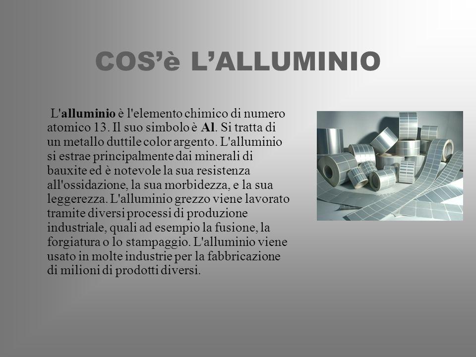 COSè LALLUMINIO L'alluminio è l'elemento chimico di numero atomico 13. Il suo simbolo è Al. Si tratta di un metallo duttile color argento. L'alluminio