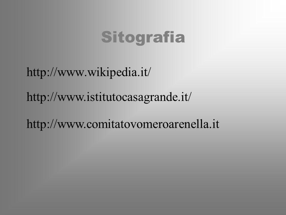 Sitografia http://www.wikipedia.it/ http://www.istitutocasagrande.it/ http://www.comitatovomeroarenella.it