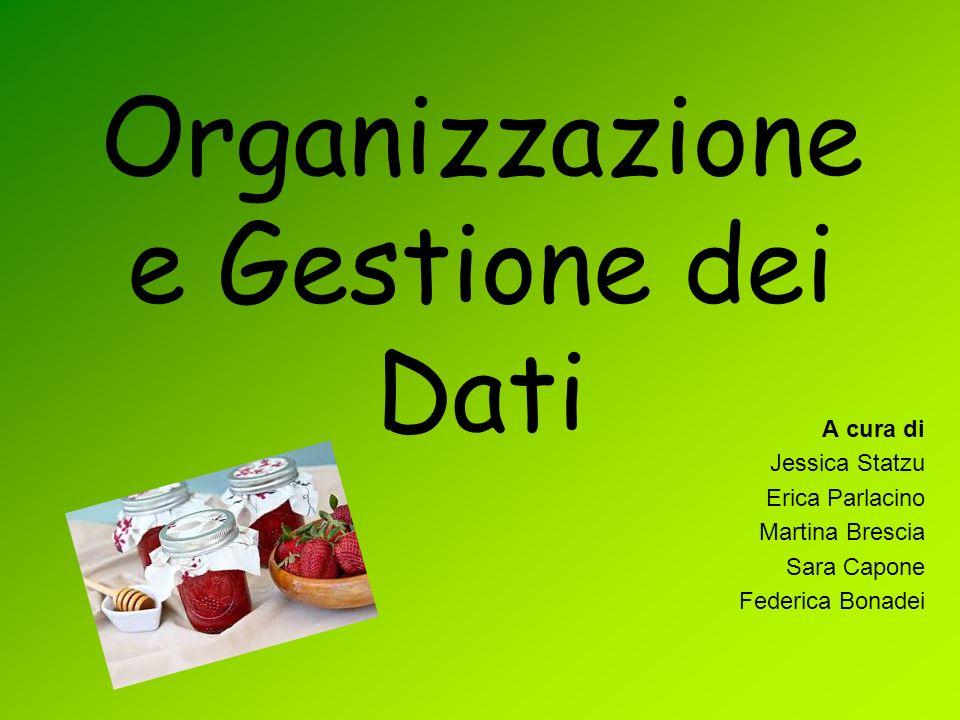 Organizzazione e Gestione dei Dati A cura di Jessica Statzu Erica Parlacino Martina Brescia Sara Capone Federica Bonadei