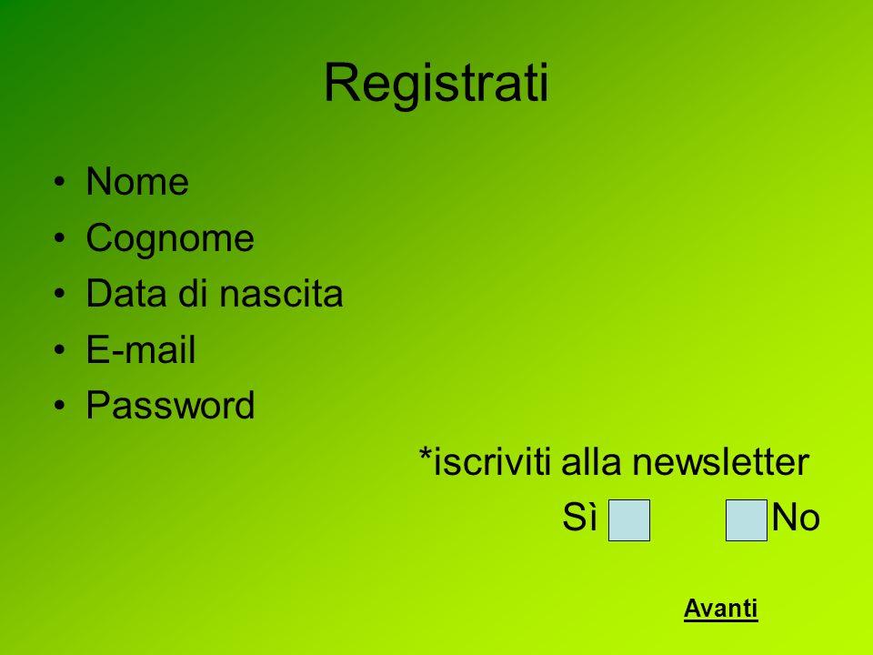 Registrati Nome Cognome Data di nascita E-mail Password *iscriviti alla newsletter Sì No Avanti