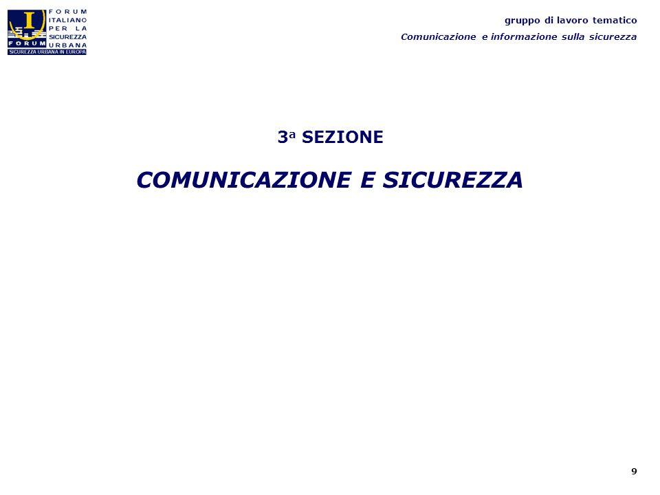 9 3 a SEZIONE COMUNICAZIONE E SICUREZZA gruppo di lavoro tematico Comunicazione e informazione sulla sicurezza