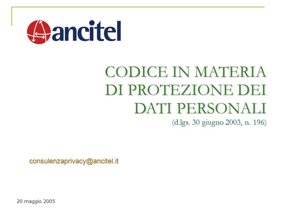 20 maggio 2005 CODICE IN MATERIA DI PROTEZIONE DEI DATI PERSONALI (d.lgs.