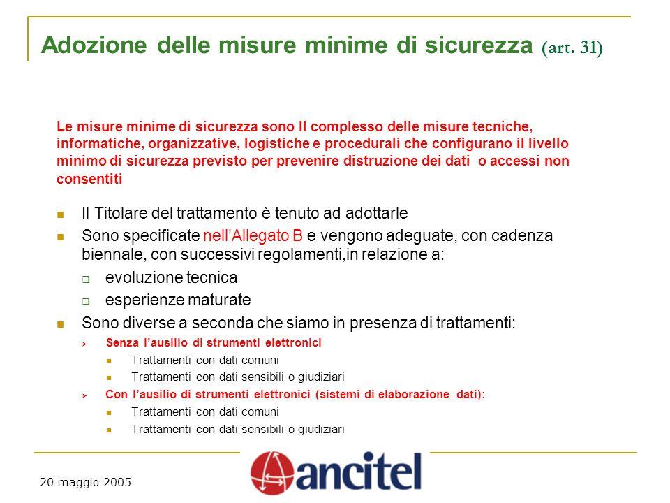 20 maggio 2005 Adozione delle misure minime di sicurezza (art.