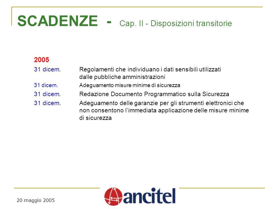 20 maggio 2005 SCADENZE - Cap. II - Disposizioni transitorie 2005 31 dicem.