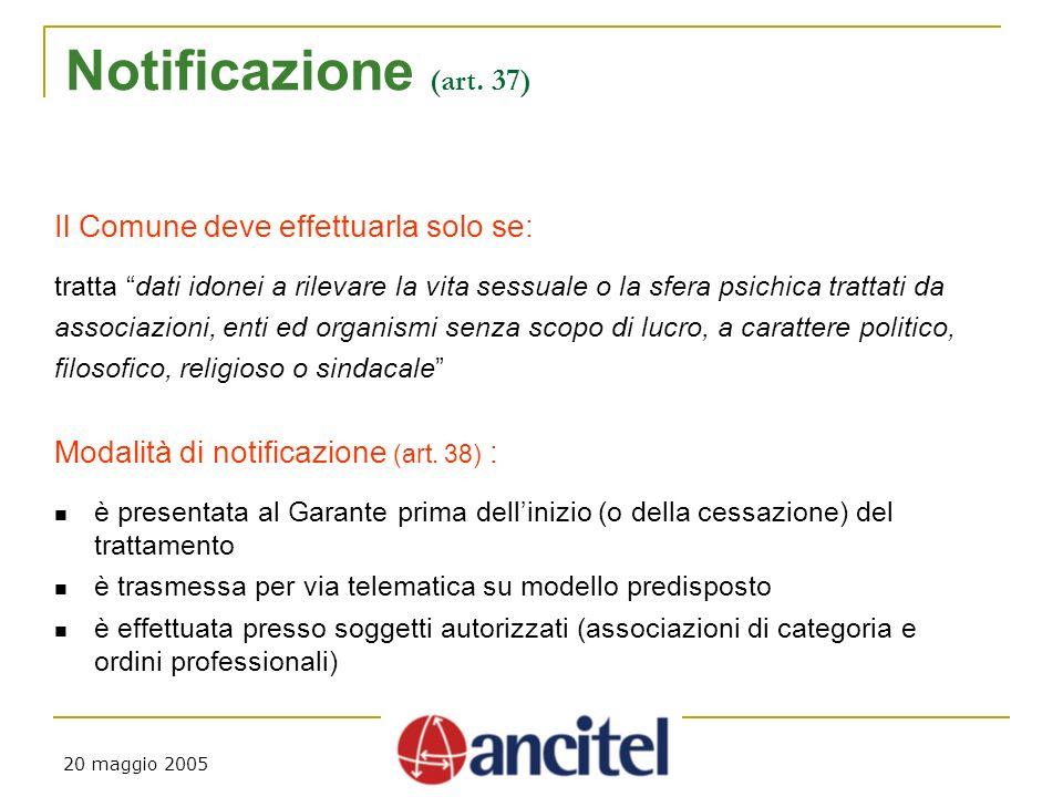 20 maggio 2005 Notificazione (art.