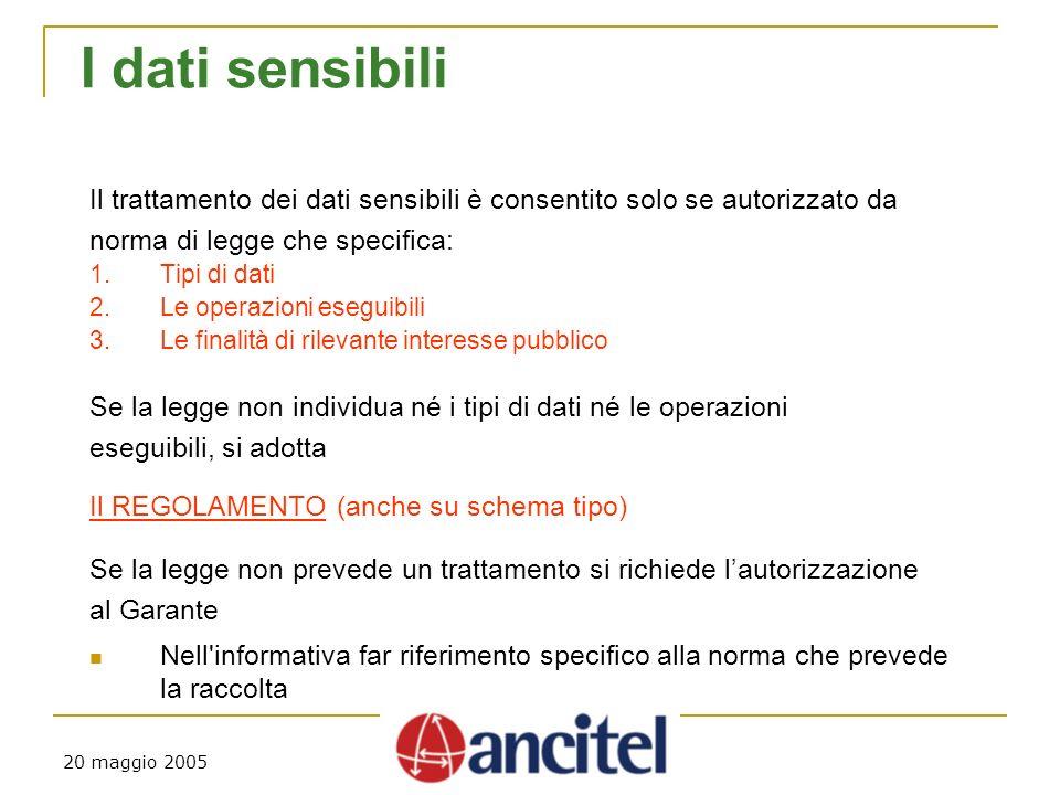 20 maggio 2005 I dati sensibili Il trattamento dei dati sensibili è consentito solo se autorizzato da norma di legge che specifica: 1.