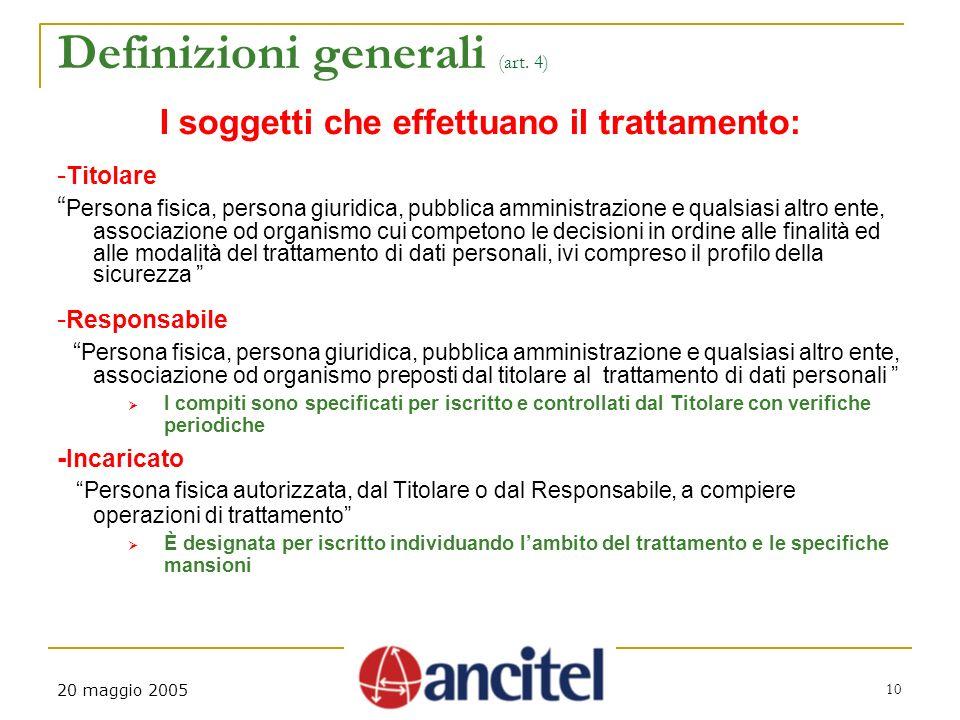 20 maggio 2005 10 Definizioni generali (art.