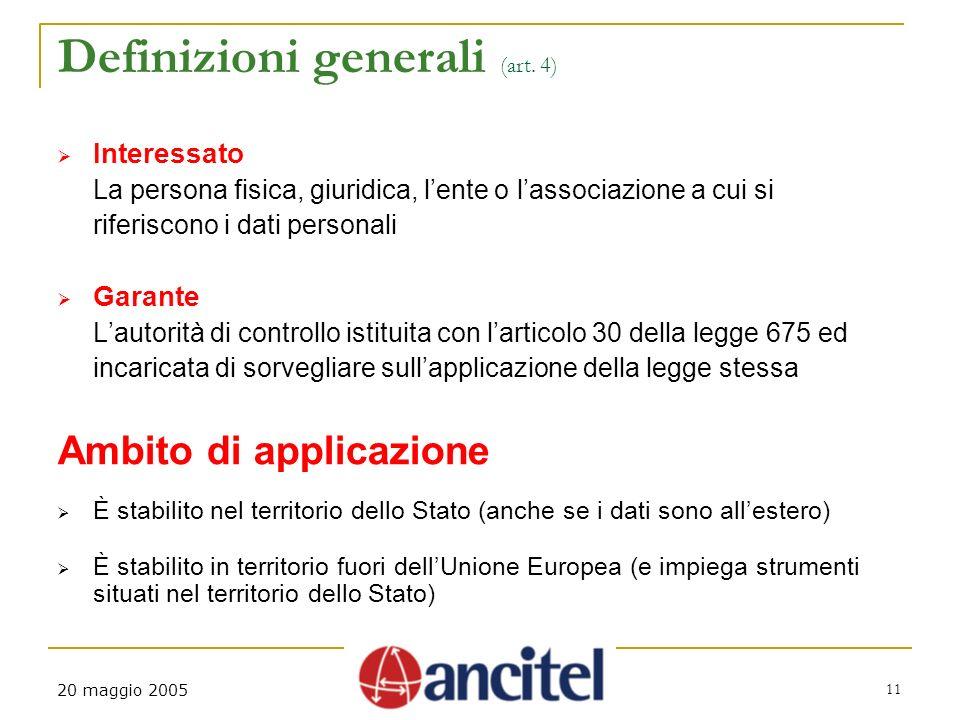 20 maggio 2005 11 Definizioni generali (art.