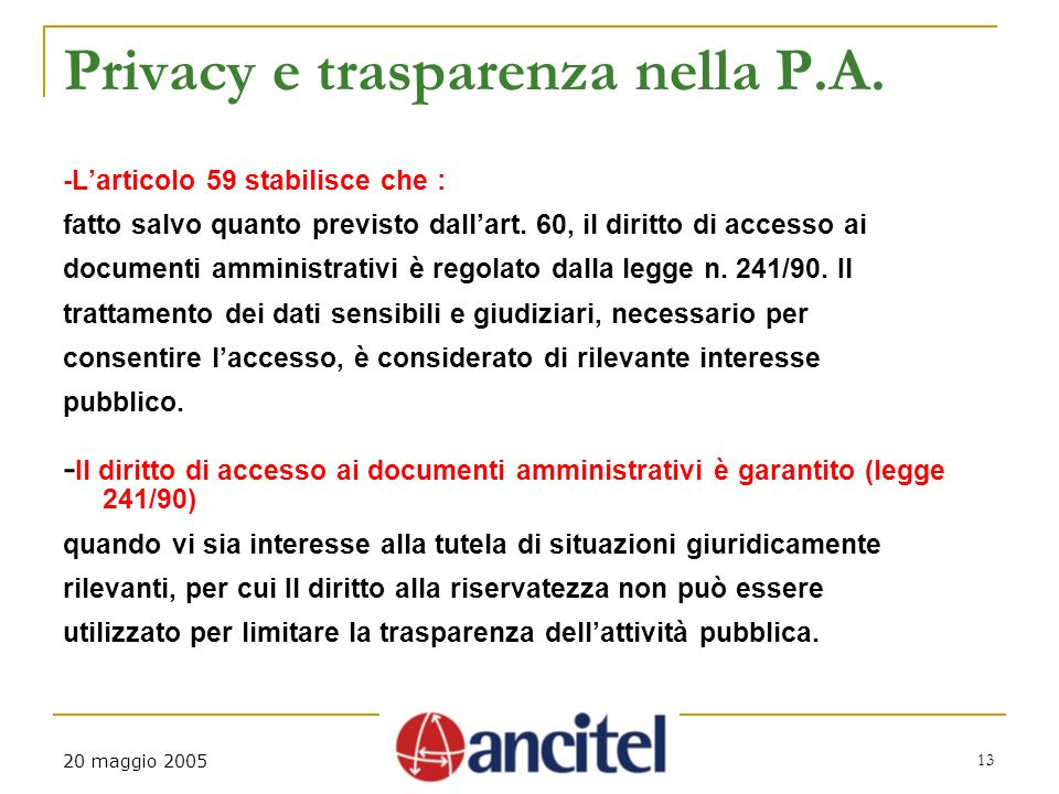 20 maggio 2005 13 Privacy e trasparenza nella P.A.
