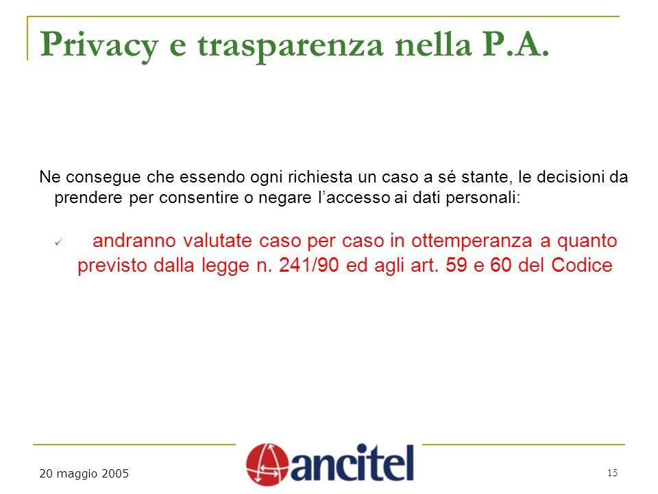 20 maggio 2005 15 Privacy e trasparenza nella P.A.