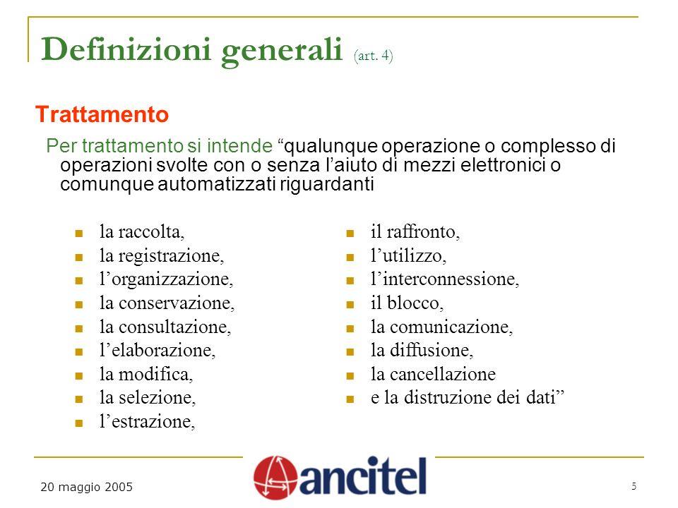 20 maggio 2005 5 Definizioni generali (art.