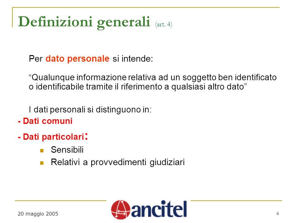 20 maggio 2005 6 Definizioni generali (art.