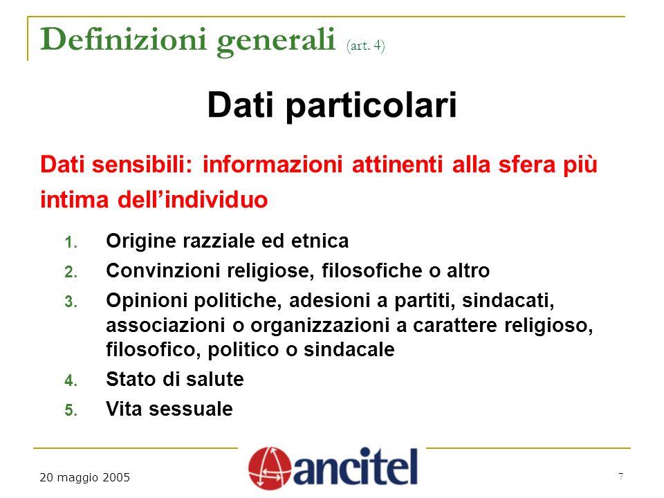 20 maggio 2005 7 Definizioni generali (art.
