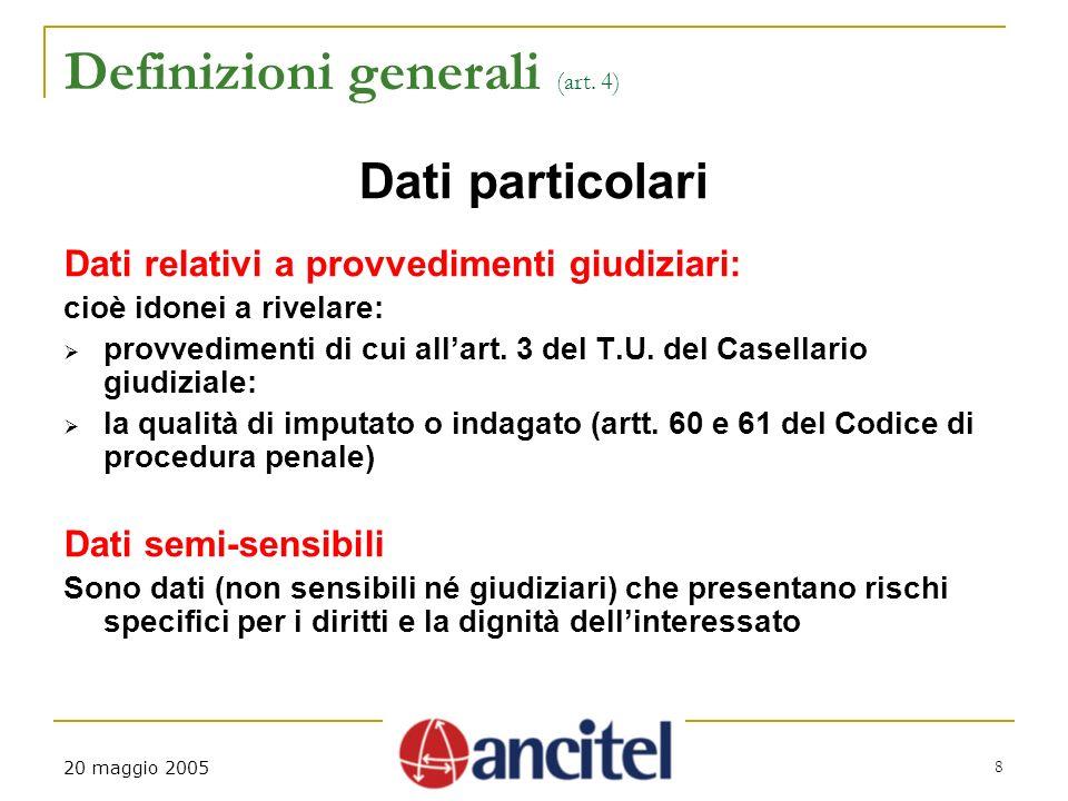20 maggio 2005 8 Definizioni generali (art.
