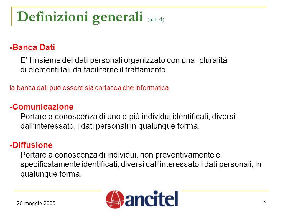 20 maggio 2005 9 Definizioni generali (art.
