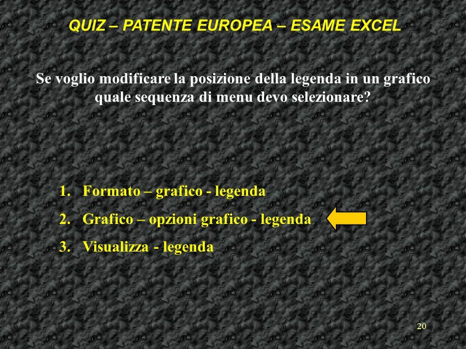 20 Se voglio modificare la posizione della legenda in un grafico quale sequenza di menu devo selezionare.