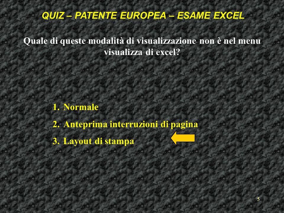 5 Quale di queste modalità di visualizzazione non è nel menu visualizza di excel.