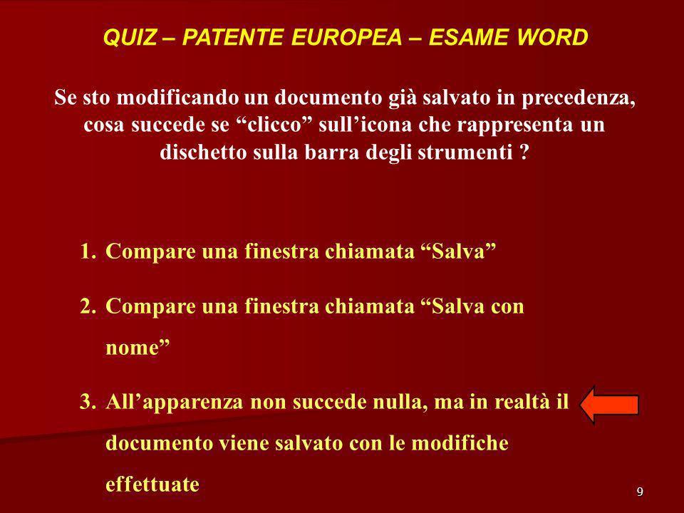 9 QUIZ – PATENTE EUROPEA – ESAME WORD Se sto modificando un documento già salvato in precedenza, cosa succede se clicco sullicona che rappresenta un d