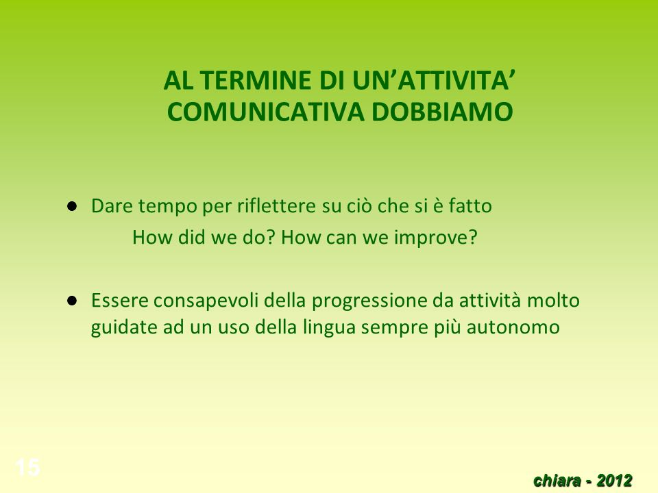 chiara - 2012 15 AL TERMINE DI UNATTIVITA COMUNICATIVA DOBBIAMO Dare tempo per riflettere su ciò che si è fatto How did we do? How can we improve? Ess