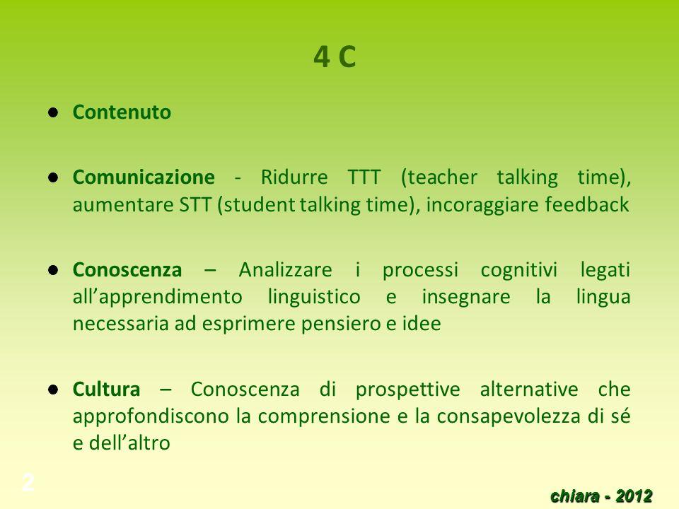 chiara - 2012 2 4 C Contenuto Comunicazione - Ridurre TTT (teacher talking time), aumentare STT (student talking time), incoraggiare feedback Conoscen