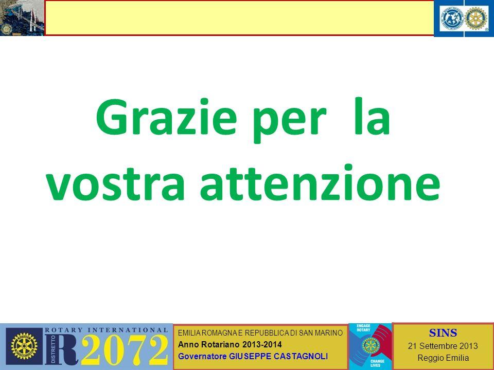 EMILIA ROMAGNA E REPUBBLICA DI SAN MARINO Anno Rotariano 2013-2014 Governatore GIUSEPPE CASTAGNOLI SINS 21 Settembre 2013 Reggio Emilia Grazie per la