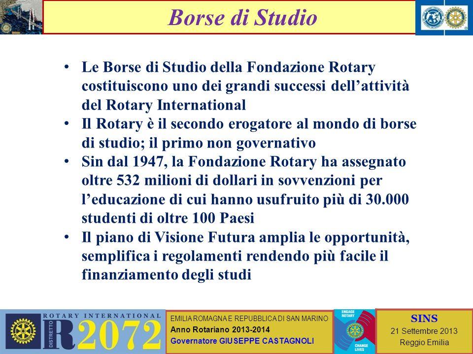 EMILIA ROMAGNA E REPUBBLICA DI SAN MARINO Anno Rotariano 2013-2014 Governatore GIUSEPPE CASTAGNOLI SINS 21 Settembre 2013 Reggio Emilia Borse di Studi