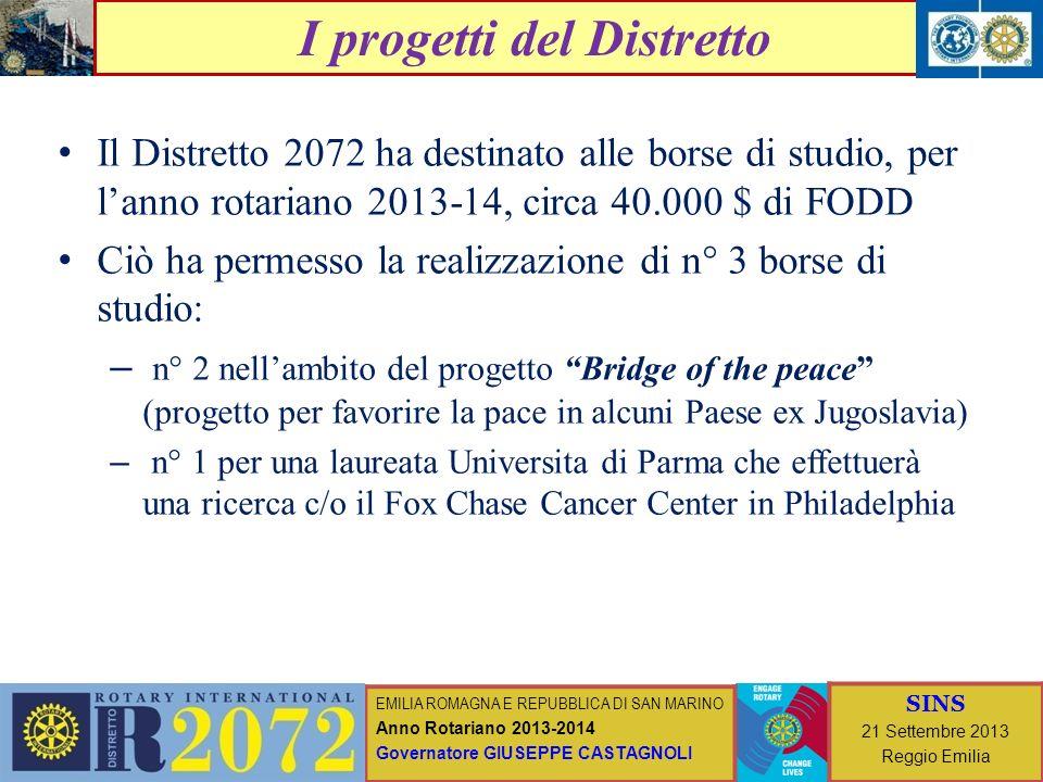 EMILIA ROMAGNA E REPUBBLICA DI SAN MARINO Anno Rotariano 2013-2014 Governatore GIUSEPPE CASTAGNOLI SINS 21 Settembre 2013 Reggio Emilia I progetti del