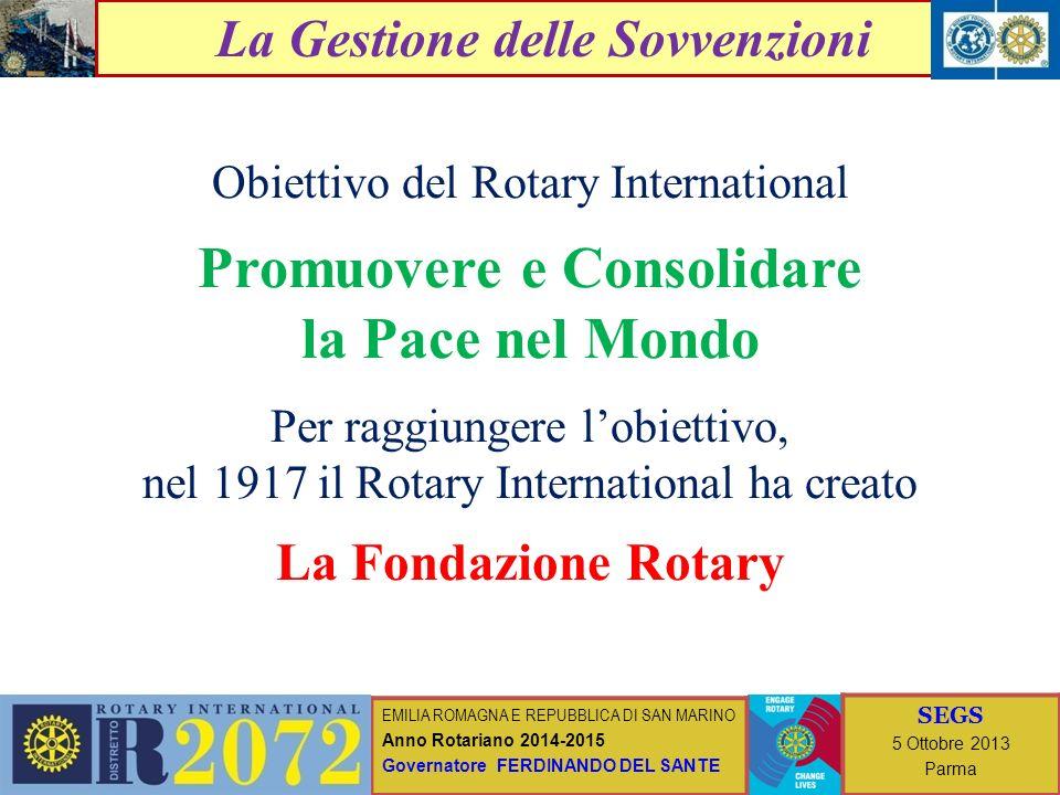 EMILIA ROMAGNA E REPUBBLICA DI SAN MARINO Anno Rotariano 2014-2015 Governatore FERDINANDO DEL SANTE SEGS 5 ottobre 2013 Parma I progetti della Fondazione Rotary Importo Totale Progetti (A.