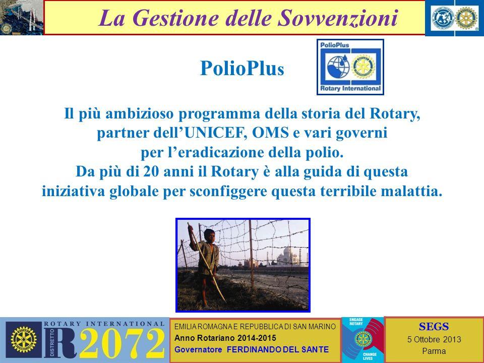EMILIA ROMAGNA E REPUBBLICA DI SAN MARINO Anno Rotariano 2014-2015 Governatore FERDINANDO DEL SANTE SEGS 5 Ottobre 2013 Parma I progetti della Fondazione Rotary SOVVENZIONE DISTRETTUALE (Anno Rotariano 2013 – 2014) Progetti presentati (dai club al D 2072): 24 (Club coinvolti: 34) Progetti presentati (dal D 2072 alla FR) : 21 * Importo totale: 227.754 US$ * Importo disponibile SD : 90.183 US$ (= 40% circa dellimporto totale) * Presentati il 29 aprile 2013 * Approvati il 15 maggio 2013