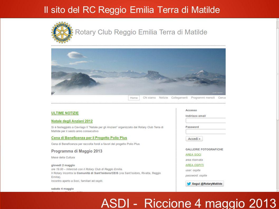 Il sito del RC Reggio Emilia Terra di Matilde ASDI - Riccione 4 maggio 2013 OBBIETTIVI Rapidità di realizzazione sito Grafica pulita Facilità di modifica Economico