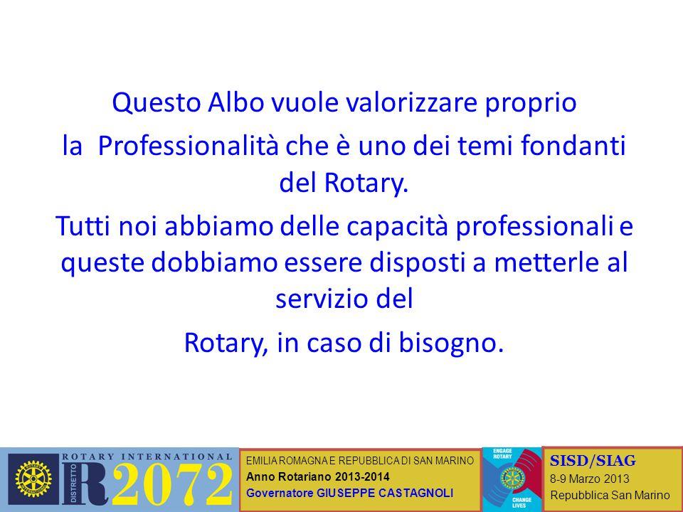 EMILIA ROMAGNA E REPUBBLICA DI SAN MARINO Anno Rotariano 2013-2014 Governatore GIUSEPPE CASTAGNOLI SISD/SIAG 8-9 Marzo 2013 Repubblica San Marino Ques