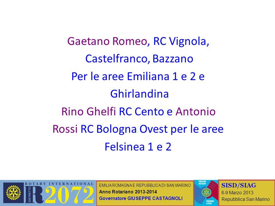 EMILIA ROMAGNA E REPUBBLICA DI SAN MARINO Anno Rotariano 2013-2014 Governatore GIUSEPPE CASTAGNOLI SISD/SIAG 8-9 Marzo 2013 Repubblica San Marino Gaet
