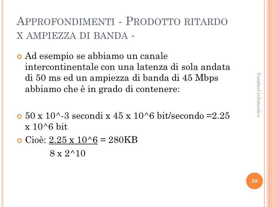 A PPROFONDIMENTI - P RODOTTO RITARDO X AMPIEZZA DI BANDA - Ad esempio se abbiamo un canale intercontinentale con una latenza di sola andata di 50 ms e